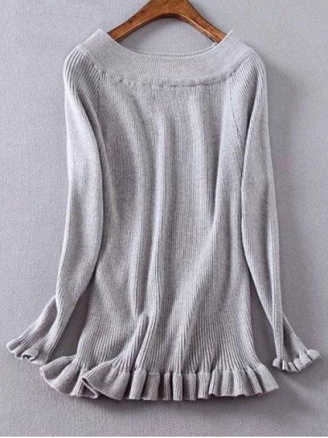 latest Ribbed Boat Neck Frilled Jumper - GRAY 2XL Mobile