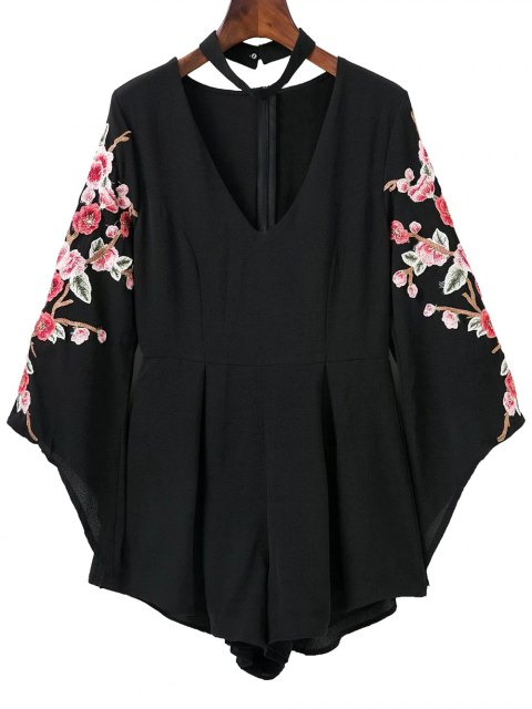 fashion Embroidered Sleeve Choker Romper - BLACK S Mobile