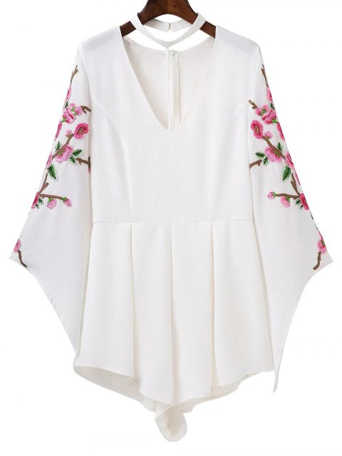 fancy Embroidered Sleeve Choker Romper - WHITE M Mobile