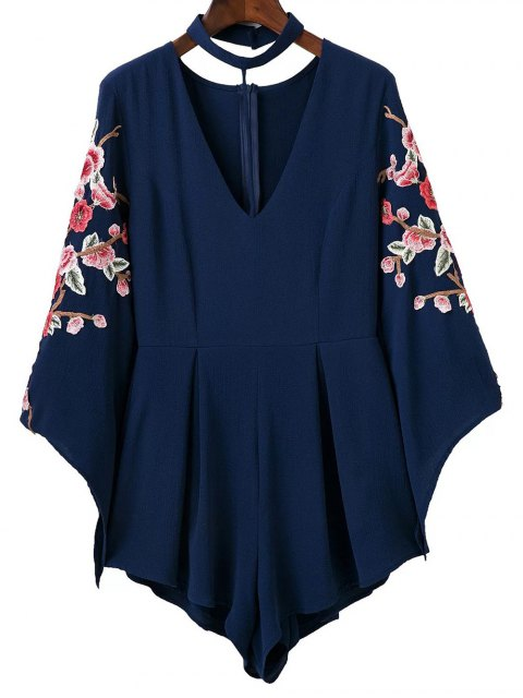 affordable Embroidered Sleeve Choker Romper - CADETBLUE M Mobile