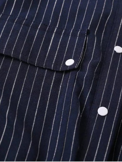 buy Striped Cutout Single-Breasted Maxi Dress - PURPLISH BLUE L Mobile