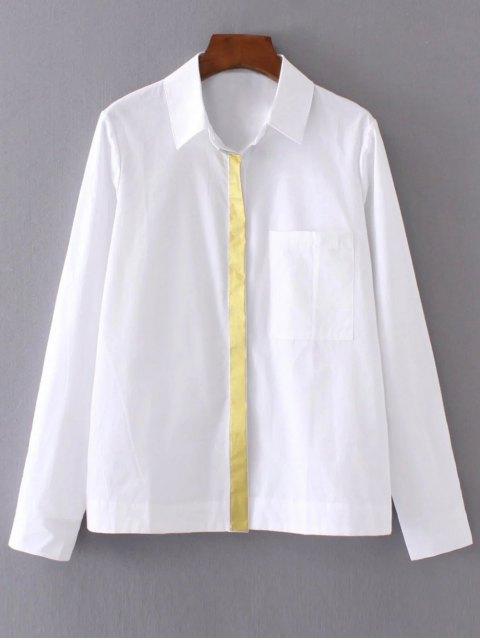 ladies Color Block Boyfriend Pocket Shirt - WHITE M Mobile