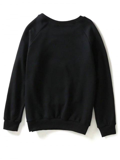 buy Sun Flower Patch Sweatshirt - BLACK S Mobile