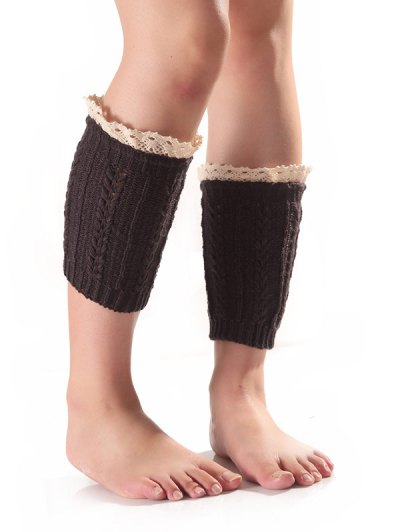 Lace Edge Wheat Knit Boot Cuffs - DEEP GRAY  Mobile