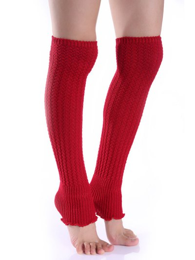 Cable Knitted Leg Warmers - BRIGHT RED  Mobile