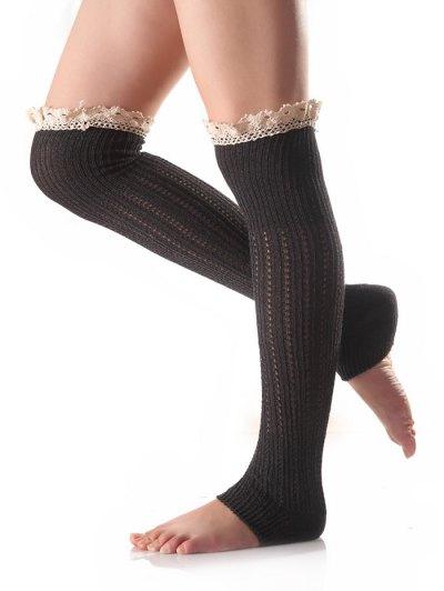 Lace Edge Knit Leg Warmers - DEEP GRAY  Mobile