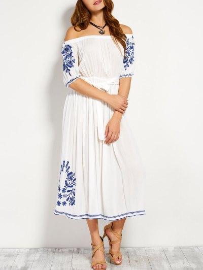 Off Shoulder Embroidered Belted Dress - White