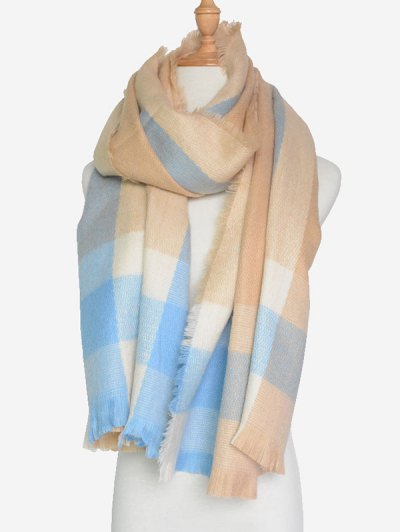 Check Pattern Fringed Scarf - BEIGE  Mobile