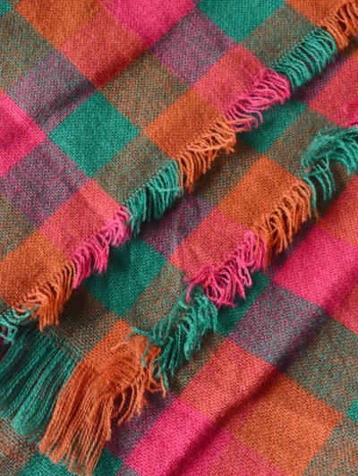 Plaid Pattern Fringed Scarf - JACINTH  Mobile