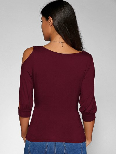 Cold Shoulder V Neck Top - DARK RED M Mobile
