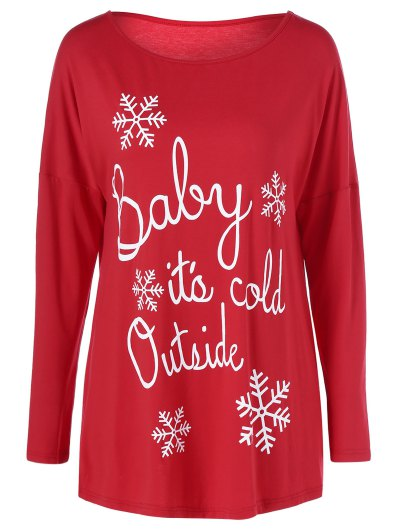 Snowflake Printed Funny Tee - RED L Mobile