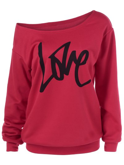 Skew Collar Love Pattern Sweatshirt - RED M Mobile