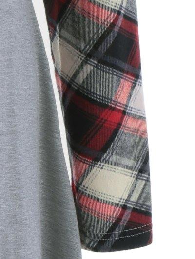 Single Pocket Checked Trim Tee Dress - GRAY M Mobile