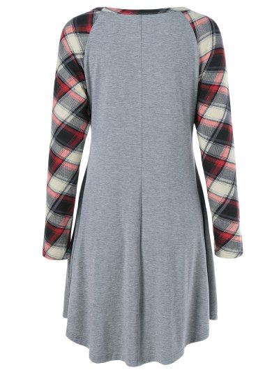 Single Pocket Checked Trim Tee Dress - GRAY L Mobile