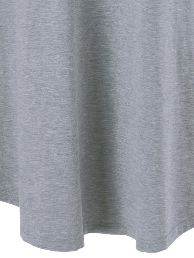 Single Pocket Checked Trim Tee Dress - GRAY XL Mobile