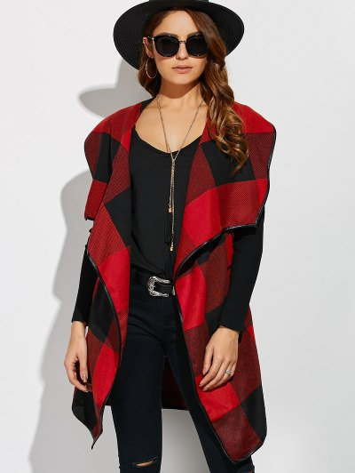 Belted Wrap Plaid Coat - RED WITH BLACK XL Mobile
