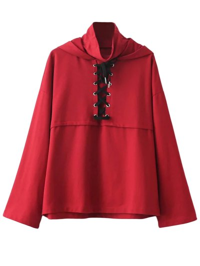 Lace Up High Neck Hoodie - RED L Mobile