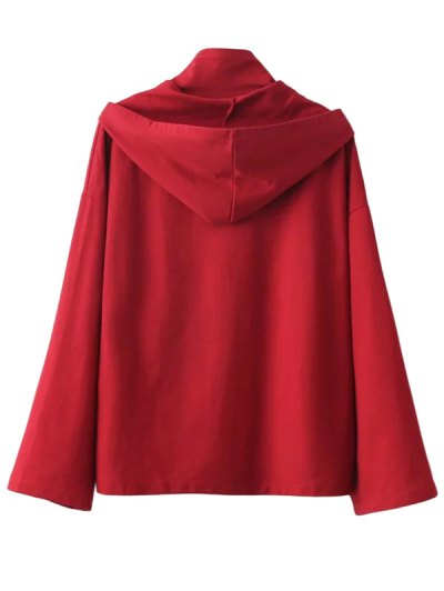 Lace Up High Neck Hoodie - RED M Mobile
