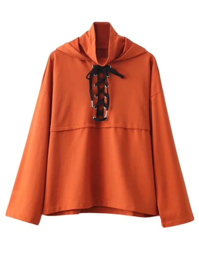 Lace Up High Neck Hoodie - ORANGE M Mobile