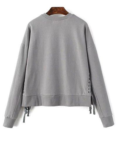 Lace Up Jewel Neck Sweatshirt - GRAY ONE SIZE Mobile