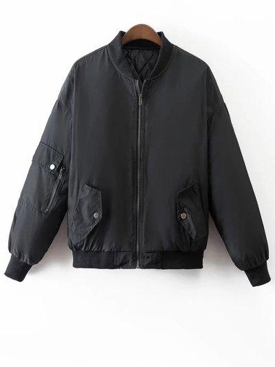 Crane Embroidered Zippered Souvenir Jacket - BLACK L Mobile