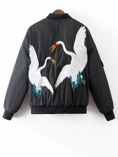 Crane Embroidered Zippered Souvenir Jacket - BLACK M Mobile