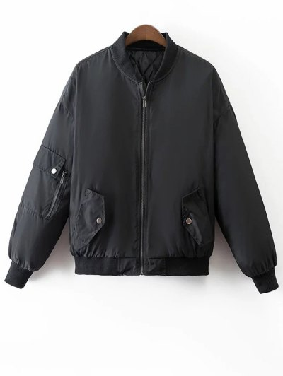 Crane Embroidered Zippered Souvenir Jacket - BLACK S Mobile