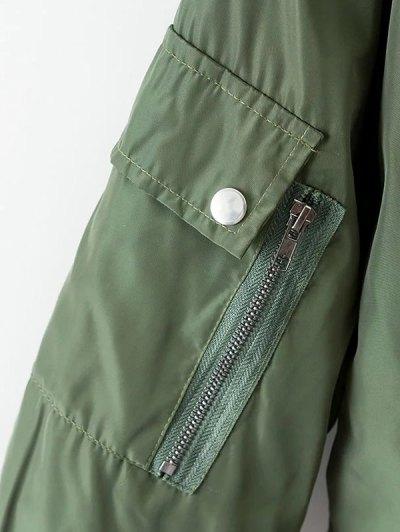 Crane Embroidered Zippered Souvenir Jacket - GREEN M Mobile