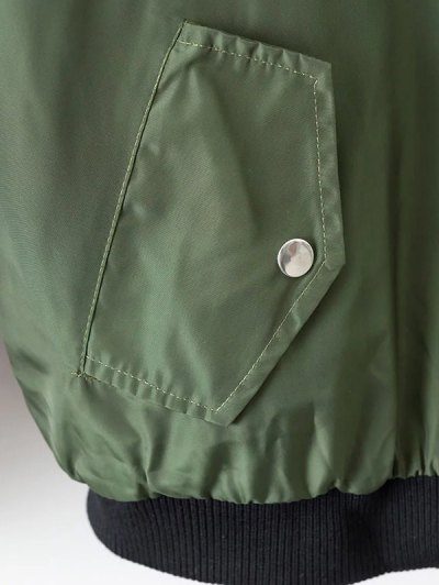 Crane Embroidered Zippered Souvenir Jacket - GREEN S Mobile