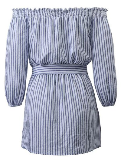 Striped Off Shoulder Belted Dress - BLUE AND WHITE L Mobile