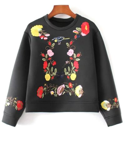 Floral Embroidered Boxy Sweatshirt - BLACK M Mobile