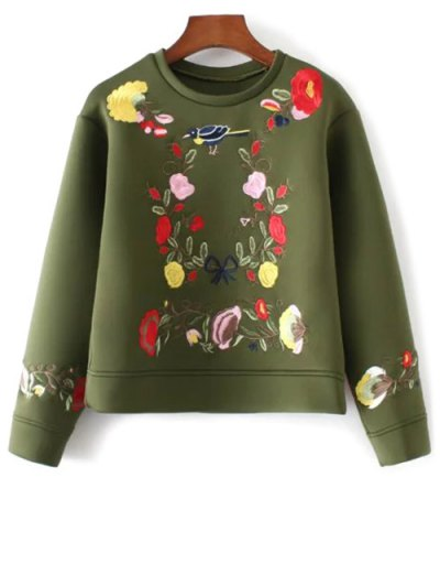 Floral Embroidered Boxy Sweatshirt - ARMY GREEN S Mobile