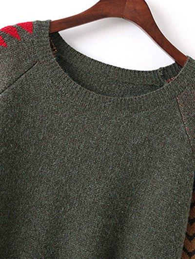 Geometric Slit Sweater Dress - GREEN ONE SIZE Mobile