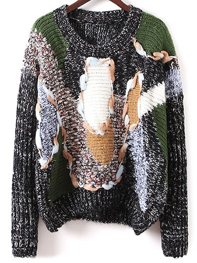 Jacquard Chunky Sweater - BLACK ONE SIZE Mobile