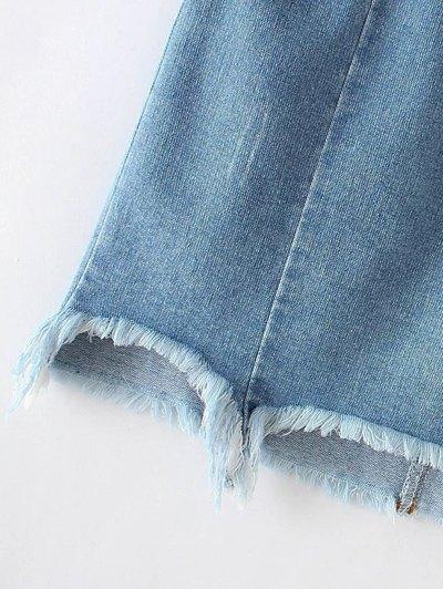 Asymmetric Floral Denim Skirt - LIGHT BLUE L Mobile
