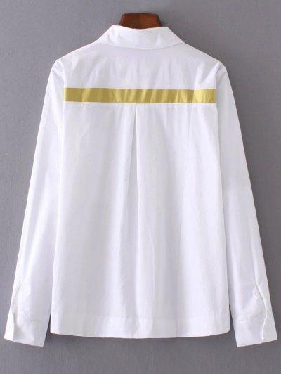 Color Block Boyfriend Pocket Shirt - WHITE L Mobile