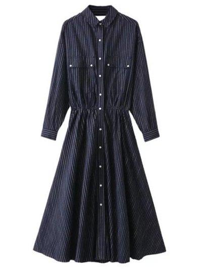 Striped Cutout Single-Breasted Maxi Dress - PURPLISH BLUE M Mobile