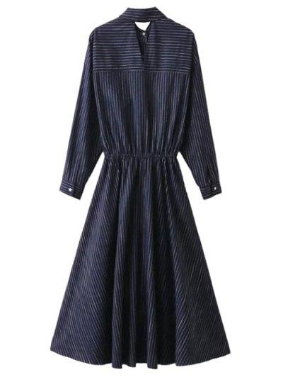Striped Cutout Single-Breasted Maxi Dress - PURPLISH BLUE S Mobile