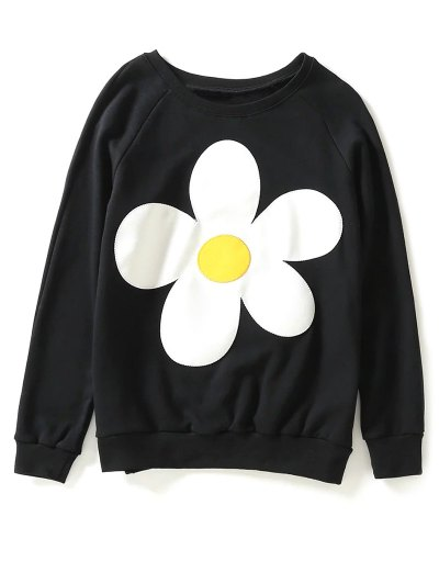 Sun Flower Patch Sweatshirt - BLACK M Mobile