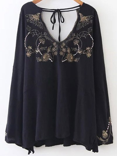Embroidered Beading Flowy Blouse - BLACK L Mobile