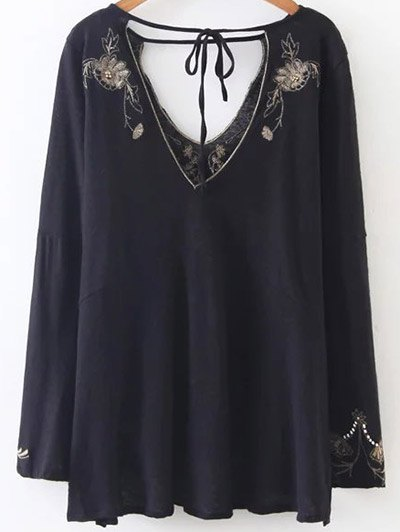 Embroidered Beading Flowy Blouse - BLACK M Mobile
