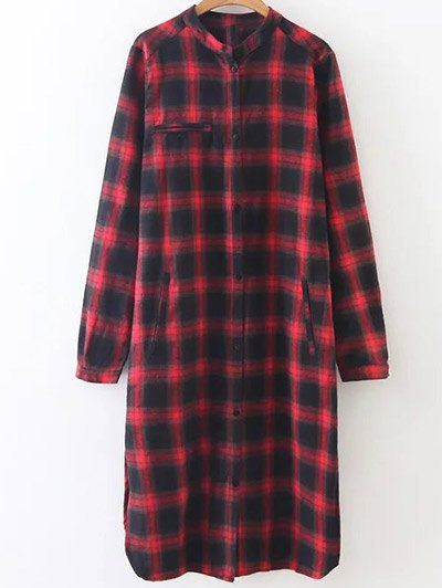 Checked Long Sleeves Shirt Dress - MULTICOLOR L Mobile