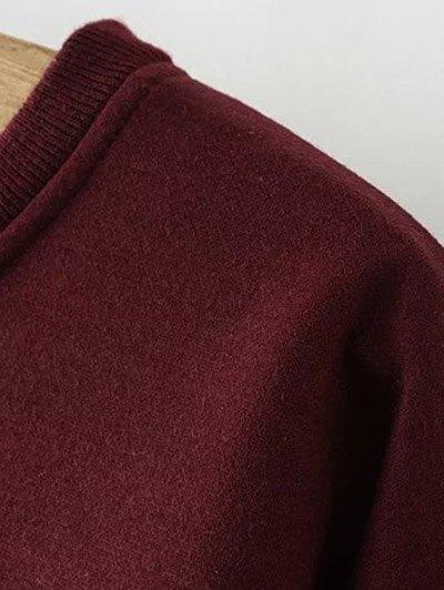Eye Embroidered Crew Neck Sweatshirt - WINE RED 3XL Mobile
