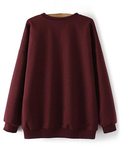 Eye Embroidered Crew Neck Sweatshirt - WINE RED XL Mobile