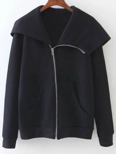 Pockets Zip Up Hoodie - BLACK M Mobile