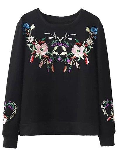 Fleeced Floral Embroidered Sweatshirt - BLACK L Mobile