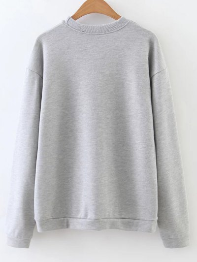 Nonsense Crew Neck Sweatshirt - GRAY L Mobile