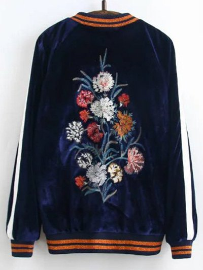 Velvet Floral Embroidered Jacket - PURPLISH BLUE L Mobile