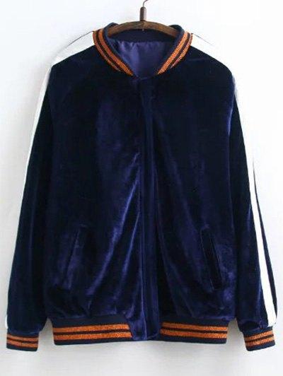 Velvet Floral Embroidered Jacket - PURPLISH BLUE M Mobile