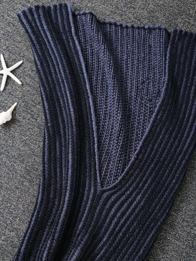 Knitted Stripe Bed Mermaid Blanket - BLACK  Mobile